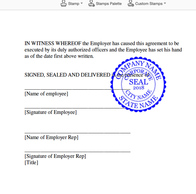 PDF document with Company seal